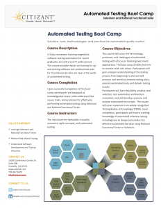 Citizant's Test Automation Boot Camp Flyer